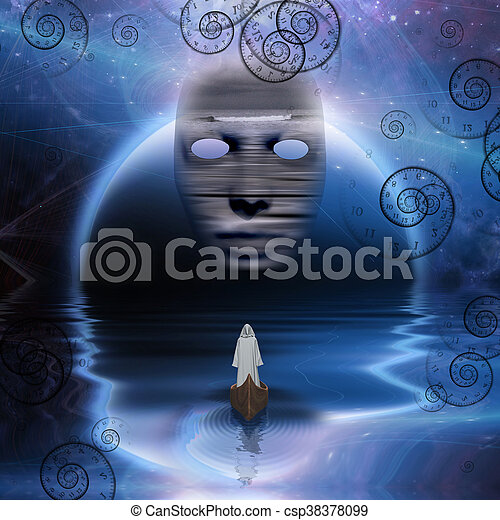 Man in white robe floating in abstract space - csp38378099