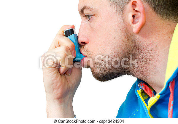 man inhaling his asthma pump - csp13424304