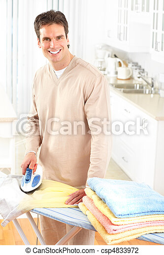 man ironing clothes  - csp4833972