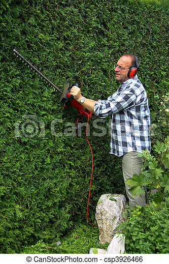 Man is cutting his hedges - csp3926466