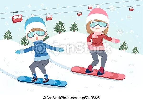 Man Is Snowboarding Cartoon Couple Is Snowboarding On The Moutain