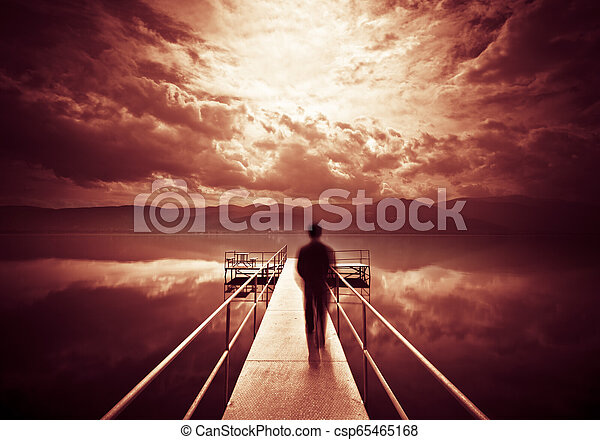 Man is Walking on the Pier - csp65465168
