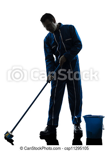 man janitor cleaner cleaning silhouette - csp11295105