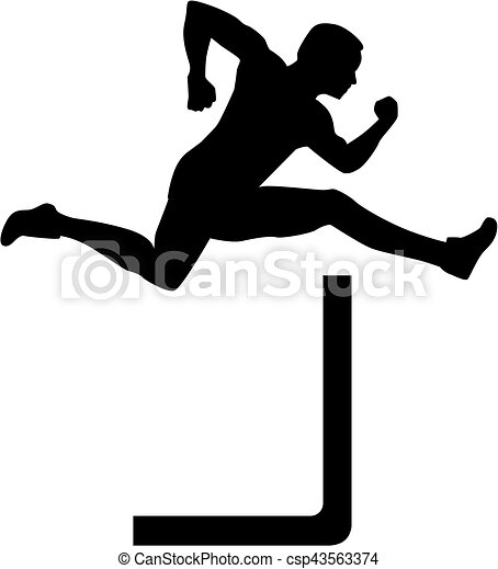 man jumping over hurdles vectors illustration search clipart rh canstockphoto com hurdle clipart free hurdle race clipart