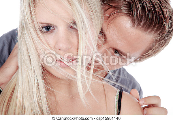 man kissing woman in the neck - csp15981140