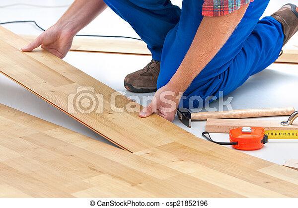 Man Laying Laminate Flooring Carpenter Worker Installing Stock