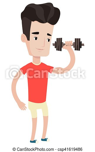 Man lifting dumbbell vector illustration. - csp41619486