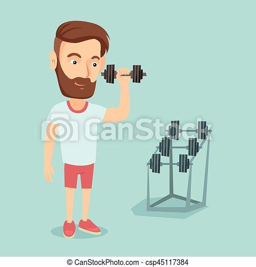 Man lifting dumbbell vector illustration. - csp45117384