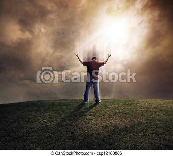 Man lifting up his arms - csp12160886