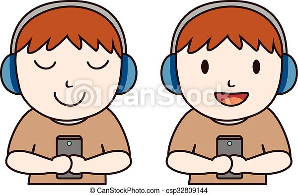 man listen music with headset eps vector search clip art rh canstockphoto com listen to music clipart black and white Headphones Clip Art