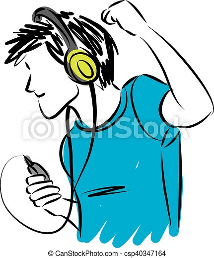 man listening music with headphones illustration clip art vector rh canstockphoto com listening to music clipart listening to music clipart black and white