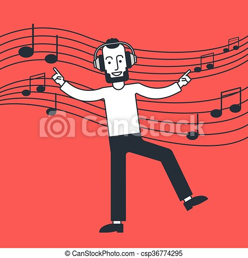 Man listening to music and dancing. - csp36774295