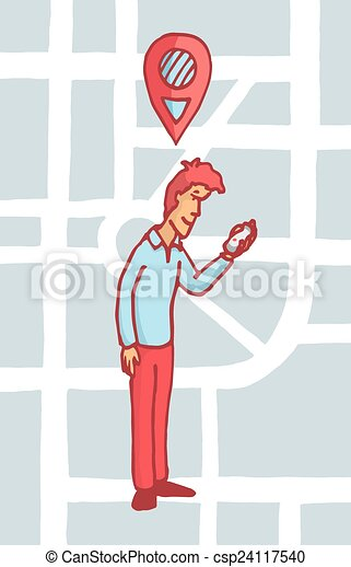 Man looking for a location on his cell phone or gps - csp24117540