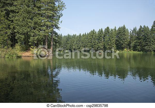 Man made lake oasis in Washington state. - csp29835798