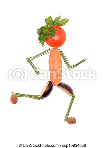 Man made of vegetables and fruits running - csp15934858