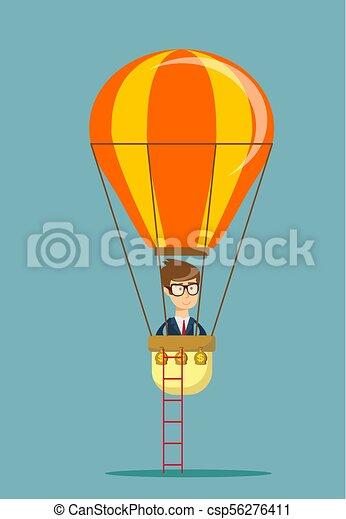 Man man in air balloon. - csp56276411