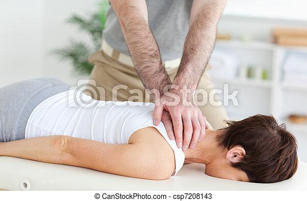 Man massaging a woman - csp7208143