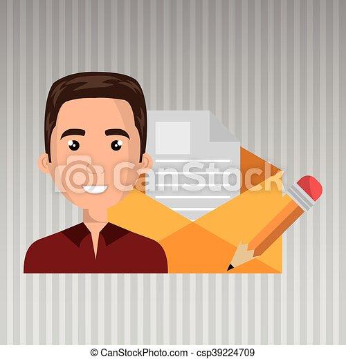 man message document icon - csp39224709