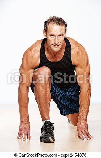 man, mooi, exercise., gespierd, fitness - csp12454878