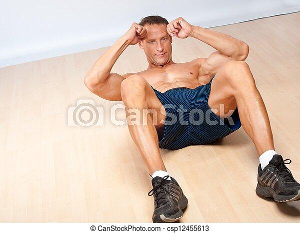 man, mooi, exercise., gespierd, fitness - csp12455613