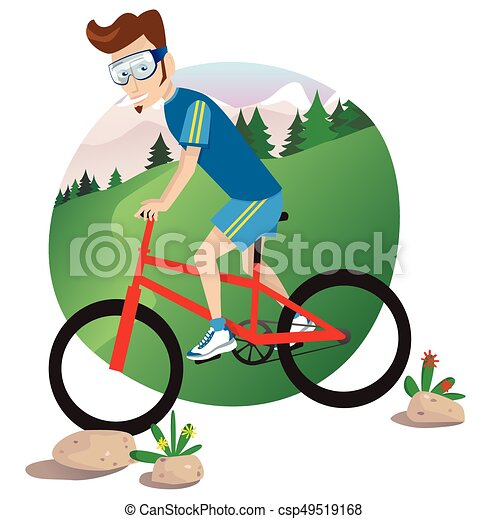 A Young Man Mountain Biking Down Hill Clip Art Vector