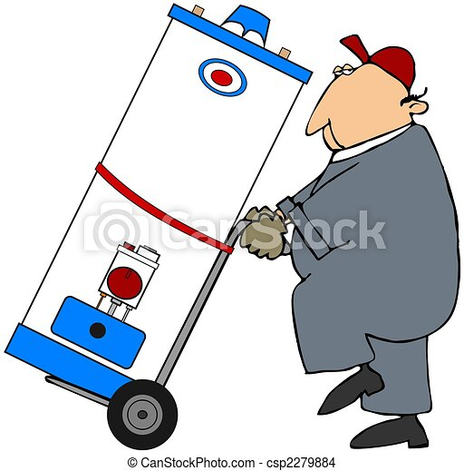 Man Moving A Water Heater - csp2279884