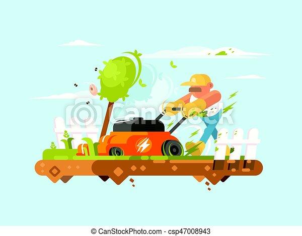 Man mowing grass - csp47008943