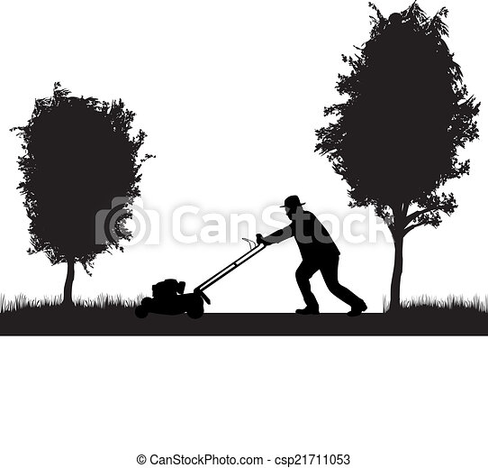 Man Mowing Lawn  - csp21711053