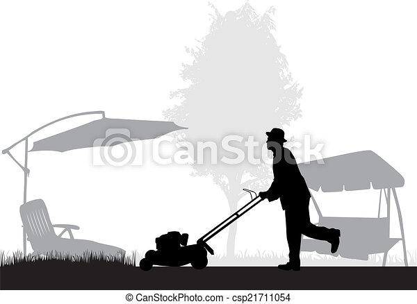 Man Mowing Lawn - csp21711054