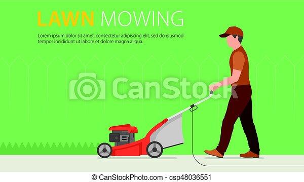 Man Mowing Lawn - csp48036551
