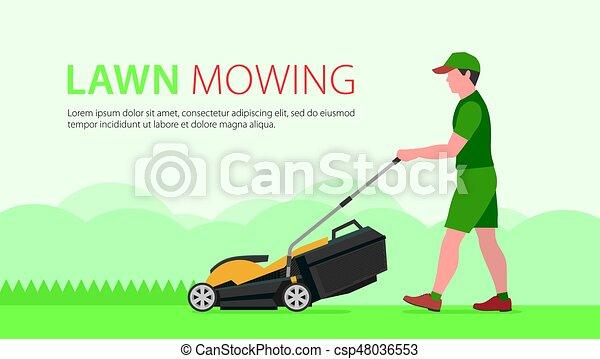 Man Mowing Lawn - csp48036553