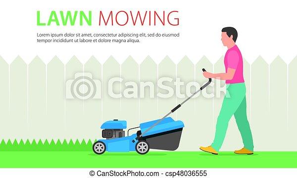Man Mowing Lawn - csp48036555