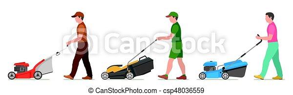 Man Mowing Lawn - csp48036559