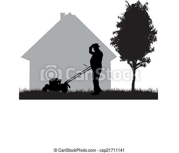 Man Mowing Lawn - csp21711141