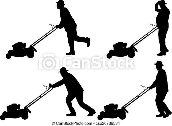 Man Mowing Lawn  - csp20739534