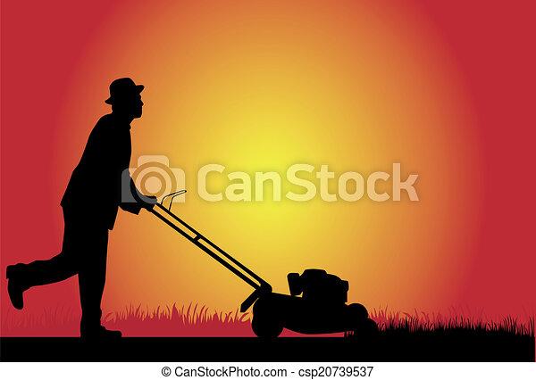 Man Mowing Lawn - csp20739537