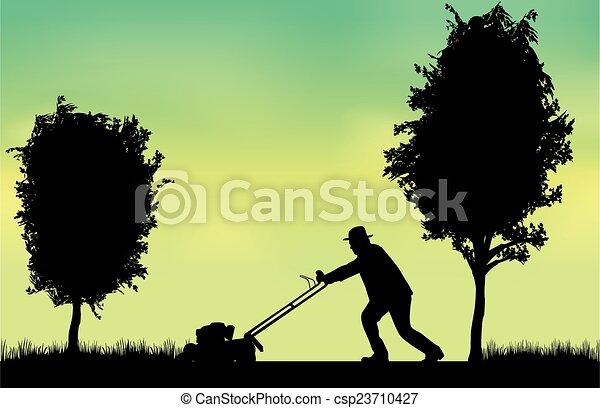 Man Mowing Lawn  - csp23710427