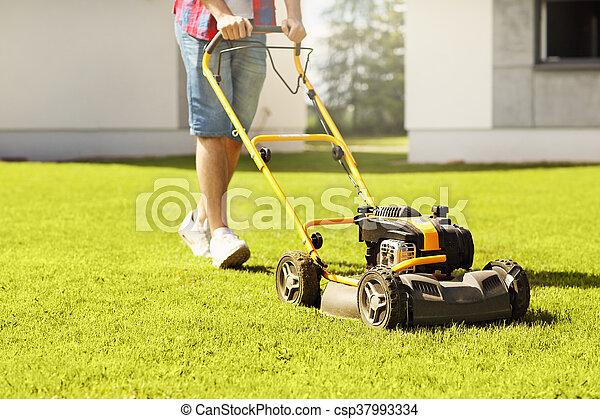 Man mowing the grass - csp37993334