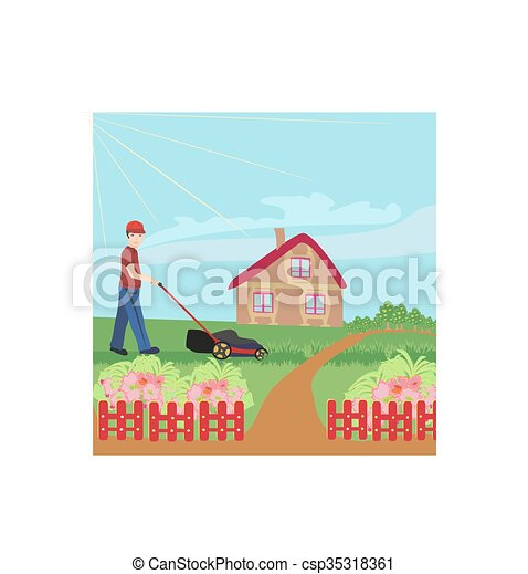 man mowing the lawn - csp35318361
