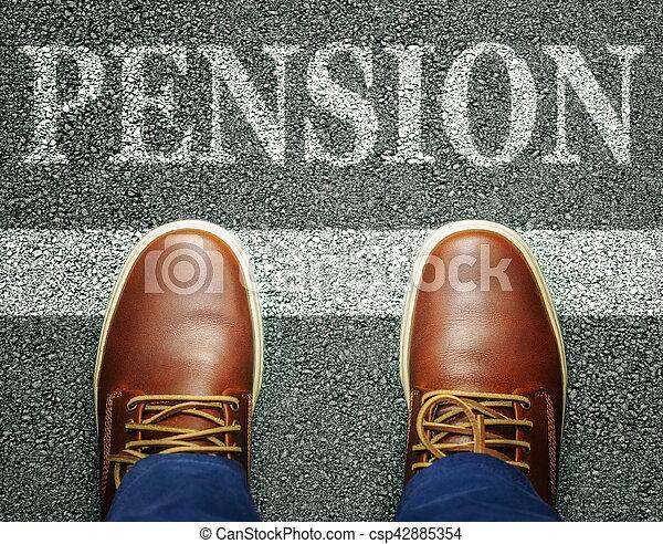 Man near inscription pension on asphalt - csp42885354