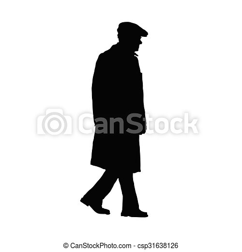 man old vector silhouette - csp31638126