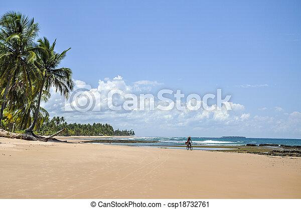 Man on a bicycle, Beach of Taipu de Fora (Brazil) - csp18732761