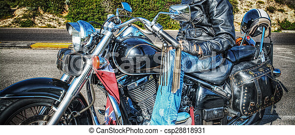 man on a classic motorcycle in hdr - csp28818931
