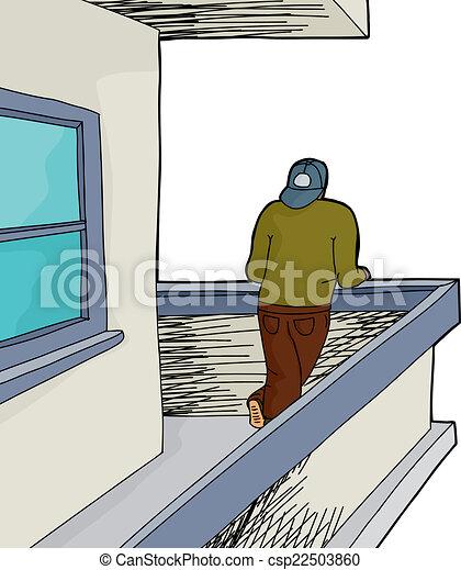 Man on balcony over white man looking from cartoon for Balcony cartoon