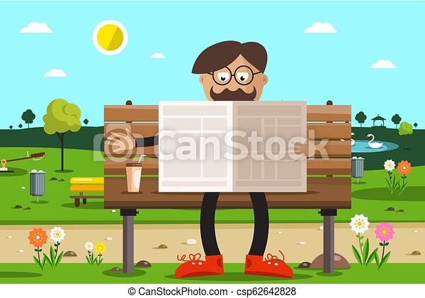 Man on Bench in Park Reading Newspapers with Coffee. - csp62642828