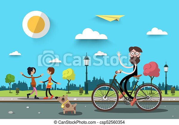 Man on Bicycle with Two Women. Vector Flat Design Nature City Landscape. - csp52560354