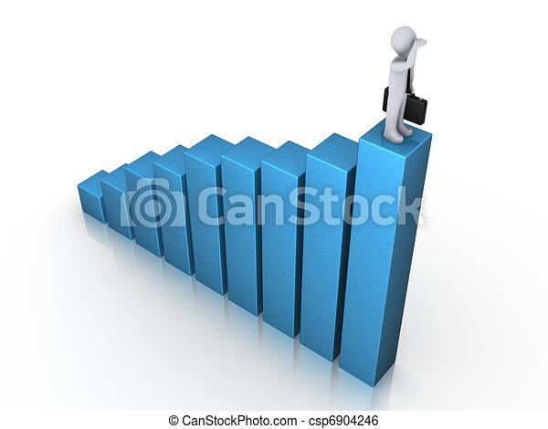 Man on chart gazing - csp6904246