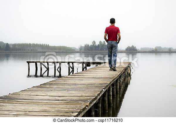 man on dock - csp11716210