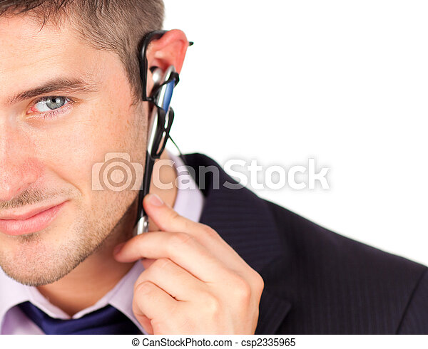 man on headset looking at the camera  - csp2335965