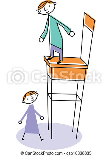 Man on high chair with woman standing below.